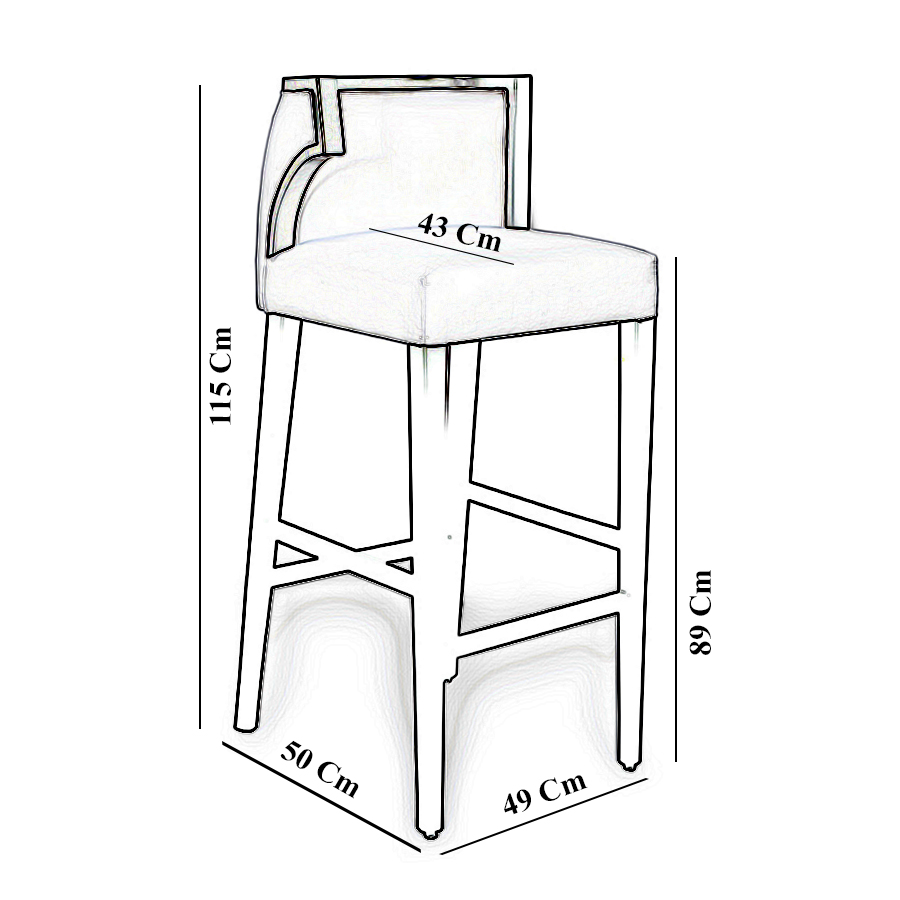 Milo Upholstered Bar Stool with Arms and Curved Back 8