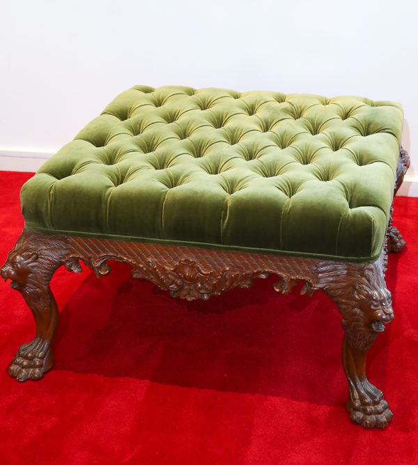 English Button Tufted Luxury Velvet Footstool Ottoman 1