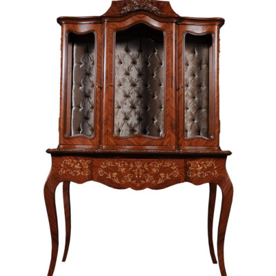 Ekaterina Hand Carved Antique French Style Display Cabinet with Three Doors and Tufted Fabric