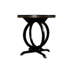 Bastian Circular Black Curved Side Table Front View