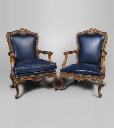 Elegant English Style Armchair Natural Leather Upholstery Set