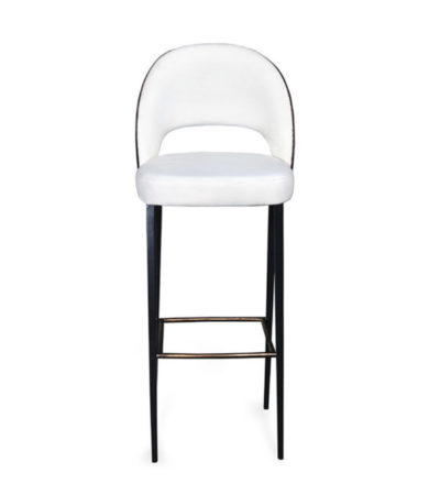Emil Square Upholstered Bar Stool With Back
