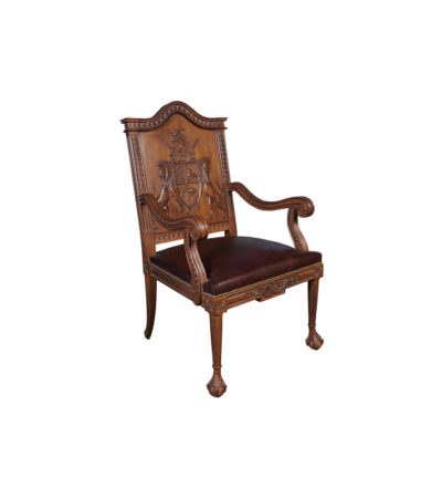 English Armchair with Hand Carved Englanderline Wooden Detailed and Upholstery Natural Leather Side View