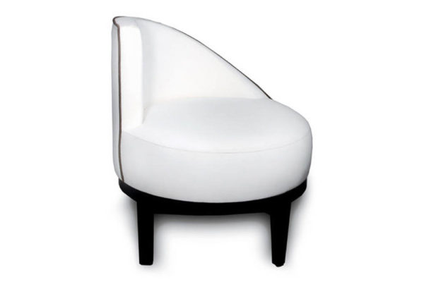 Francesco Round Upholstered Occasional Chair with Curved Back