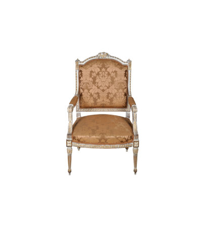 French Distressed Painted Armchair with Wooden Hand Carved and Luxury Upholstery Fabric