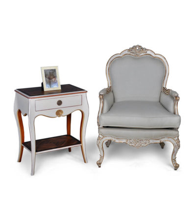 French-Distressed-Painted-Armchair-with-Side-Table