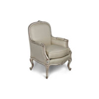French Style Arm Chair in Distressed Frame Finish