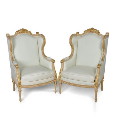 French Style Wing Back Armchair with Hand Carved Wood Gold Set