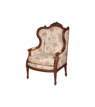 French Style Wing Back Armchair with Hand Carved Wood and Upholstery Luxury Fabric