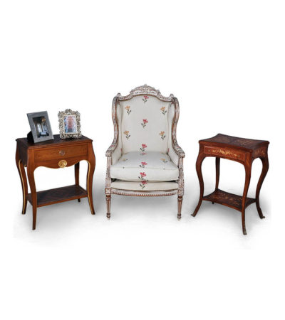 French Style Wing Back Chair Gray with Side Tables
