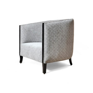 Theo Gray Upholstered with Wooden Frame Armchair Side View