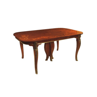 Antique Luxury Dining Tables with Hand Carved Wood and Marquetry Veneer