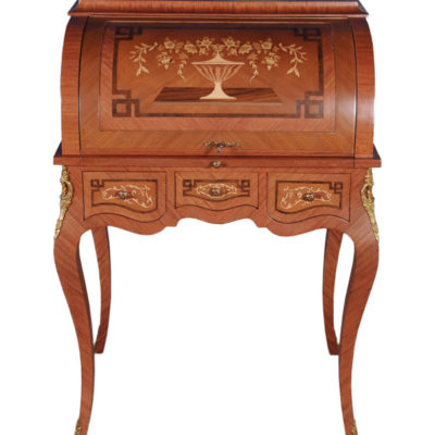 French Antique Secretary with Marquetry Veneer Inlay