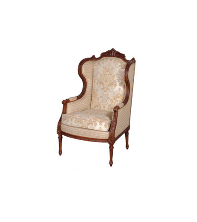 French Style Wing Back Armchair with Hand Carved wood and Upholstery Luxury Fabric Brown