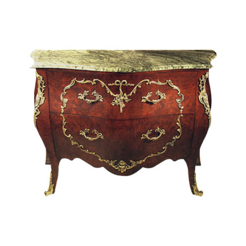 Classic French Chest of 2 Drawers with Marble Top and Brass Ornament