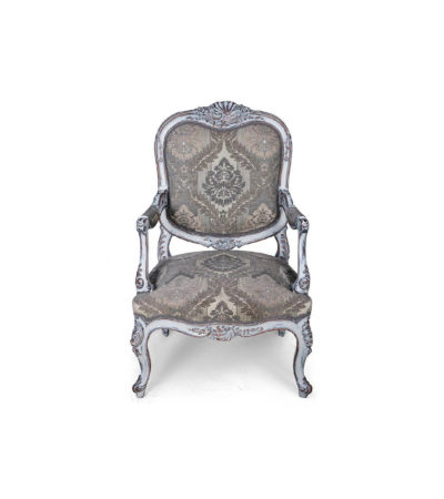 French Antique Style Armchair Upholstered Hand Carved Detailed