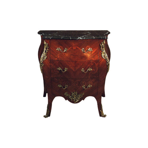 French Chest of 3 Drawers with Marble Top Hand Carved Marquetry Veneer Inlay and Brass Ornament