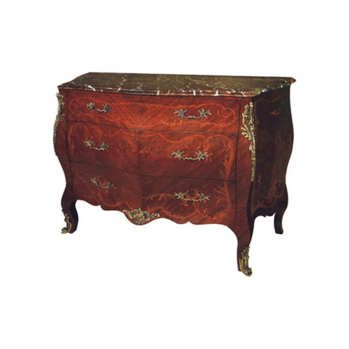 French Marble Top Chest of Drawers with Copper Ornament