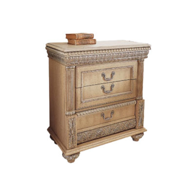 Luxury Antique Bedside Table with 3 Drawers Hand Carved Beach Wood