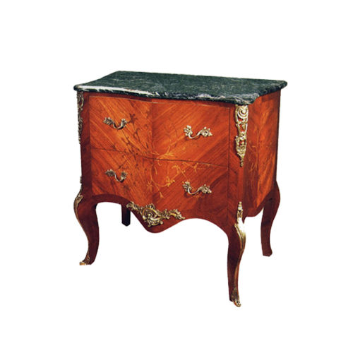 Wooden Chest of Drawers with Hand Carved Marquetry Veneer Inlay