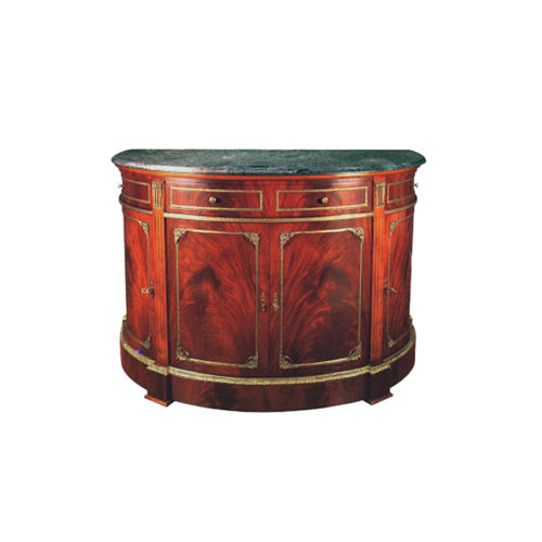 Natural Veneer Half Moon Chest with Marble Top and Hand Carved Marquetry
