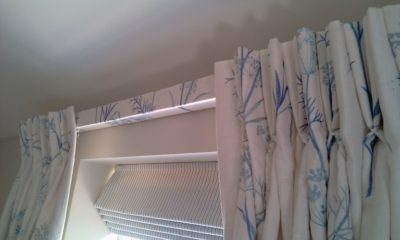 Bedroom Roman Blind with Curtains on Covered Lath
