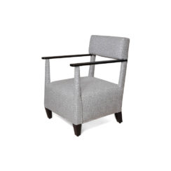 Bentley Grey Upholstered Armchair with Black Wooden Arms Left