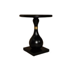 Cinnabar Round Black High Gloss Side Table View