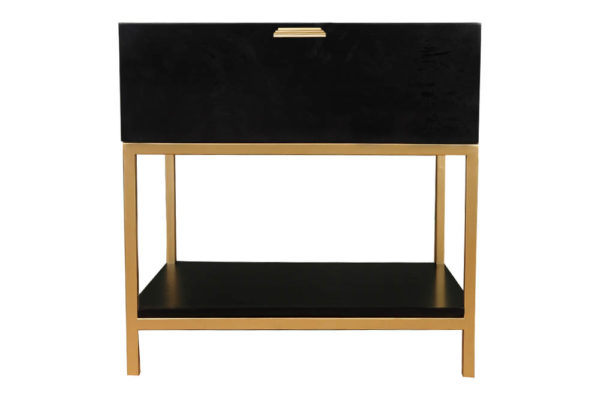 Alania Black Bedside Table with Shelf and Drawer