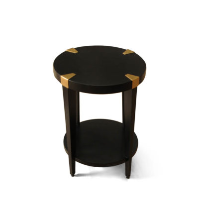 Alany Dark Brown Side Table with Brass Inlay Top View