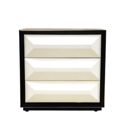 Kvadrat Dark Brown and Cream Gloss Bedside Table Front View