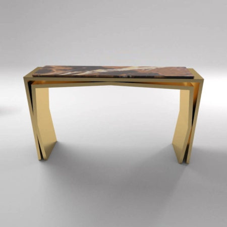 Aria Wooden Gold Console Table with Marble Top