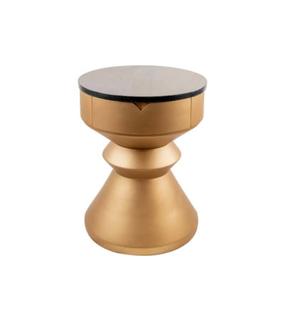 Bishop Round Gold Bedside Table with Drawer