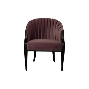 Bogo Upholstered Striped Armchair with Black Legs Dark Purple