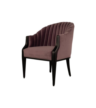 Bogo Upholstered Striped Armchair with Black Legs Dark Purple Side View
