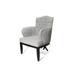 Cross Upholstered Tufted Armchair Grey Side