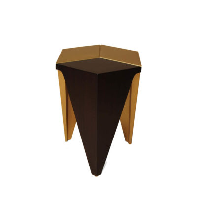 Diamond Hexagonal Black and Gold Side Table Third View