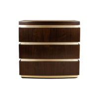 Eduard Dark Brown Wood with Brass Bedside Table