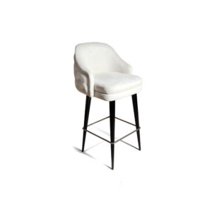 Finess Upholstered Wood and Stainless Steel Bar Stool Side