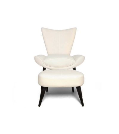 Keda Upholstered Accent Chair and Footstool with Black Lacquer Legs