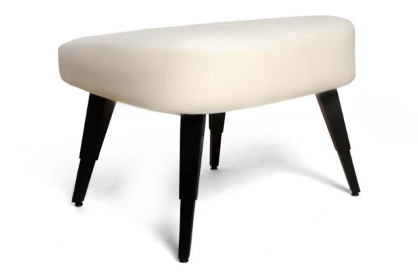 Keda Upholstered Pouf with Black Legs Corner View