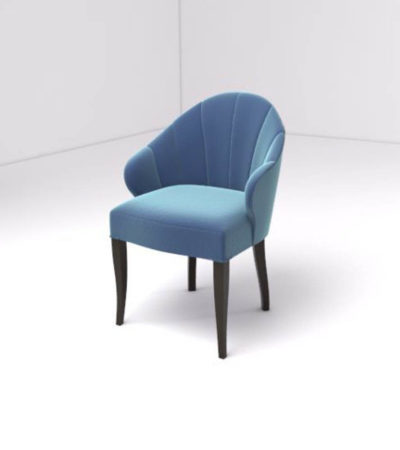 Olga Upholstered Stripped Curved Armchair Top View