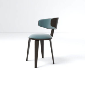 Oska Upholstered Winged Dining Chair Left Side View