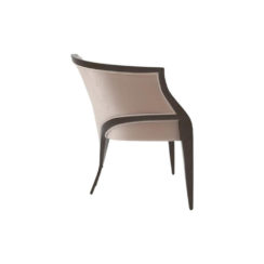Oval Upholstered Wood Frame Armchair Right View