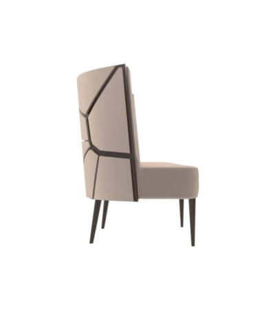 Roman Upholstered with Patterned High Back Accent Chair Right