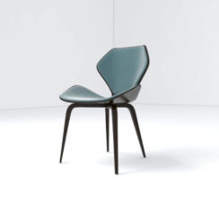 Scorpio Upholstered Winged with Wood Leg Dining Chair Left