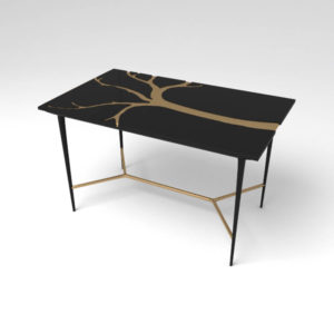 Tree Wooden and Metal Console Table