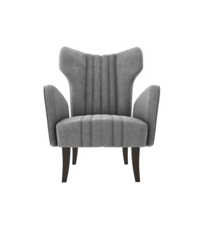 Zelda Upholstered Wing Armchair with Black Wooden Legs