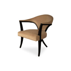 Zelle Upholstered Curved Armchair With Cross Legs Beside View