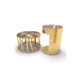 Drum Marble And Brass Side Table Set Of 2